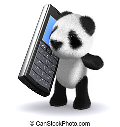3d Panda bear chatting on mobile phone - 3d render of a baby...