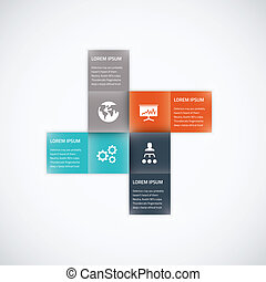 Square box business infographic option vector element flat...