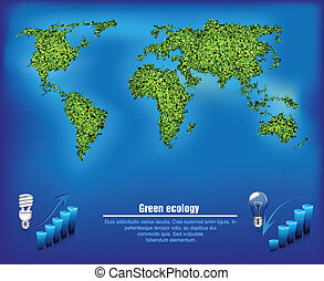 green map out of the grass with the oceans