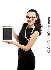 brunette girl in black dress holding ipad over white...