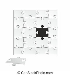 puzzle with a special piece in black