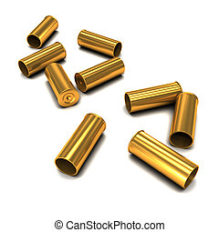3d Empty bullet casings - 3d render of scattered empty...
