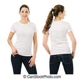 Smiling woman wearing blank white shirt - Young beautiful...