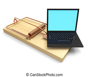 3d Laptop mousetrap - 3d render of a mousetrap with laptop...