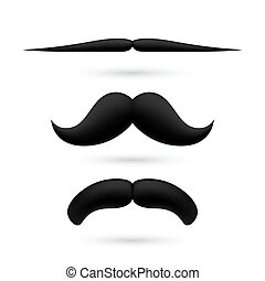 A set of three moustache - A set of three black wax...