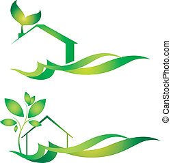 Eco house - eco house design for business, vector