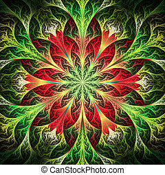 Beautiful fractal flower in red and green. Computer...
