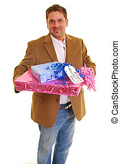 Happy Mother\'s Day - Man holding presents with a tag saying...