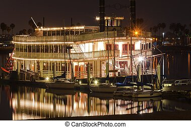 Riverboat in Mission Bay, San Diego - Night view of an...