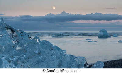 blue icebergs and beach - 4K Version of Time lapse of blue...