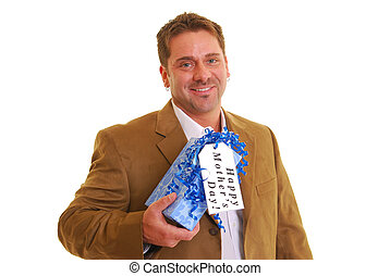Happy Mother\'s Day - Man holding a present with a tag...