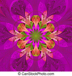 Symmetrical pattern in stained-glass window style. Purple...