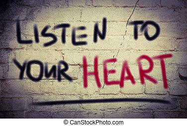心, 概念, あなたの, 聞きなさい