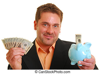 Bussiness man holding a money and a piggy bank isolated on...