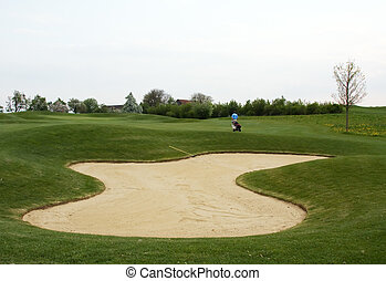 Sand trap bunker on the golf course