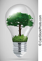 green sprout in the bulb the concept of clean energy