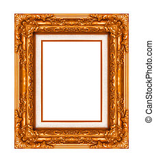 Vintage brown frame with blank space, with clipping path
