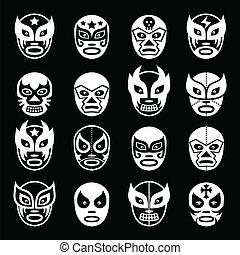 Lucha libre, luchador Mexican mask - Vector icons set of...
