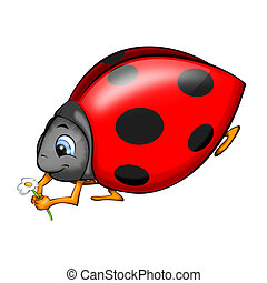Ladybird - Red Ladybird With Ox-Eye Daisy 2D artwork...