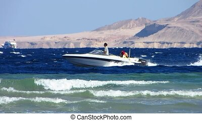 Motor boat - Speedboat moves by sea