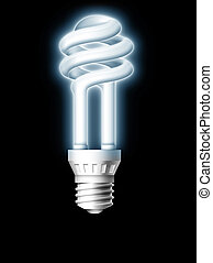 Luminous bulb - Luminous tube on black background. 2D...