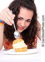 蛋糕, 女孩, 吃, 年輕