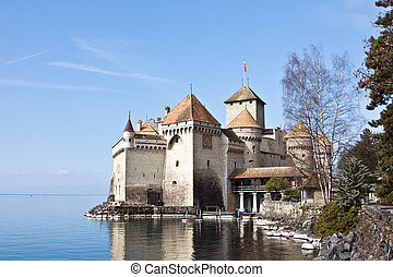Chillon castle, Geneva lake, Switzerland - Chillon castle,...