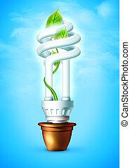 Luminous bulb - Luminous tube on blue background. 2D...
