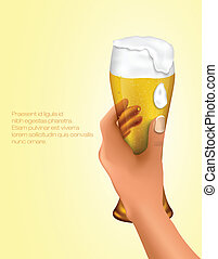 hand holding a glass of light beer