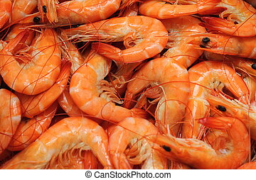 boiled Shrimp - Boiled shrimp on ice for a party.