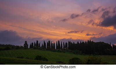 Clouds over vineyards at sunrise, Tuscany, Italy, timelapse