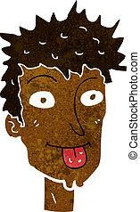 cartoon man sticking out tongue