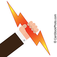 grab lightning - vector illustration of human hand holding a...