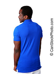 Back view portrait of african man over white background