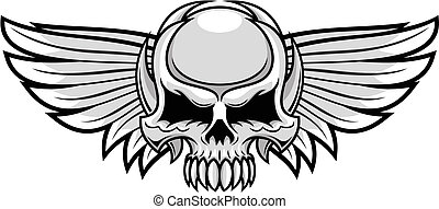 gray skull with wings - illustration of gray skull with...