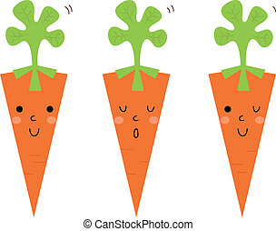 Beautiful cartoon Carrots set isolated on white - Cute...