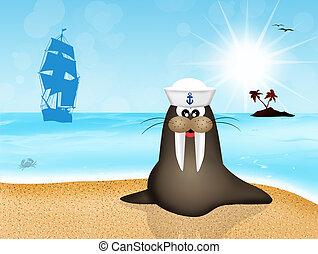 walrus sailor - Illustration of walrus sailor