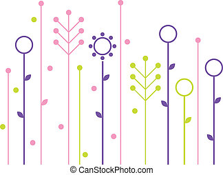 Simple abstract spring flowers design