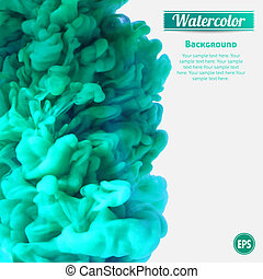 Turquoise swirling ink in water