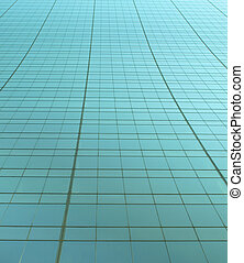 Green tinted mirror-like grid - Metallic green tinted grid