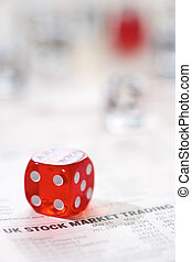 Stocks and shares Trading. Coloured dice stacked on the...