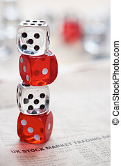 Stocks and shares Trading Coloured dice stacked on the...