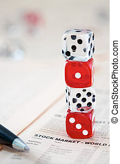 Stocks and shares - Odds Stacked against you. Coloured dice...