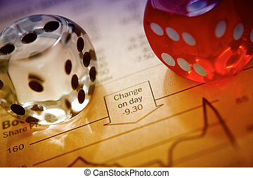 Stocks and shares Trading. Coloured dice on top of the...