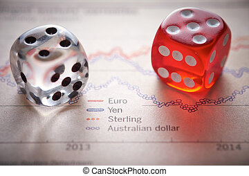 Stocks and shares Trading Coloured dice on top of the...
