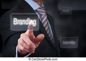 Business Branding - A businessman Pointing to a branding...
