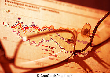 Stocks and shares Trading Pair of glasses on top of a...