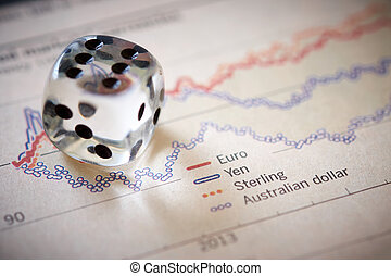Stocks and shares - Currency trading. Coloured dice on top...