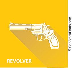 vector vintage pistol gun icon on orange
