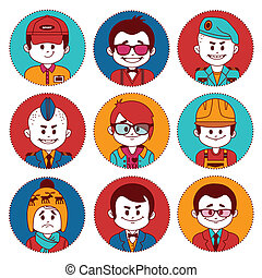 Set icons with characters. Different professions . - Set...